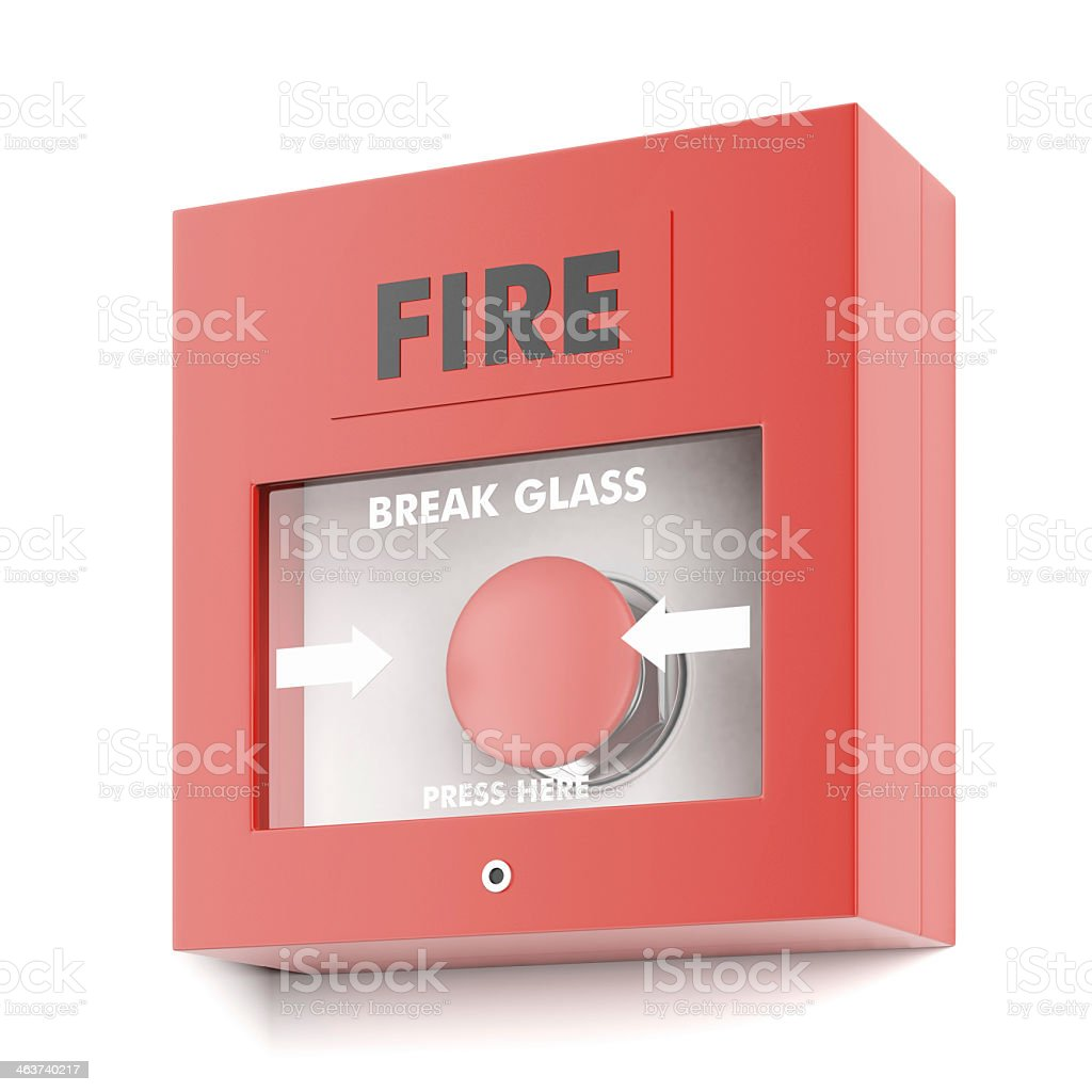 Photo of a fire alarm activation button stock photo
