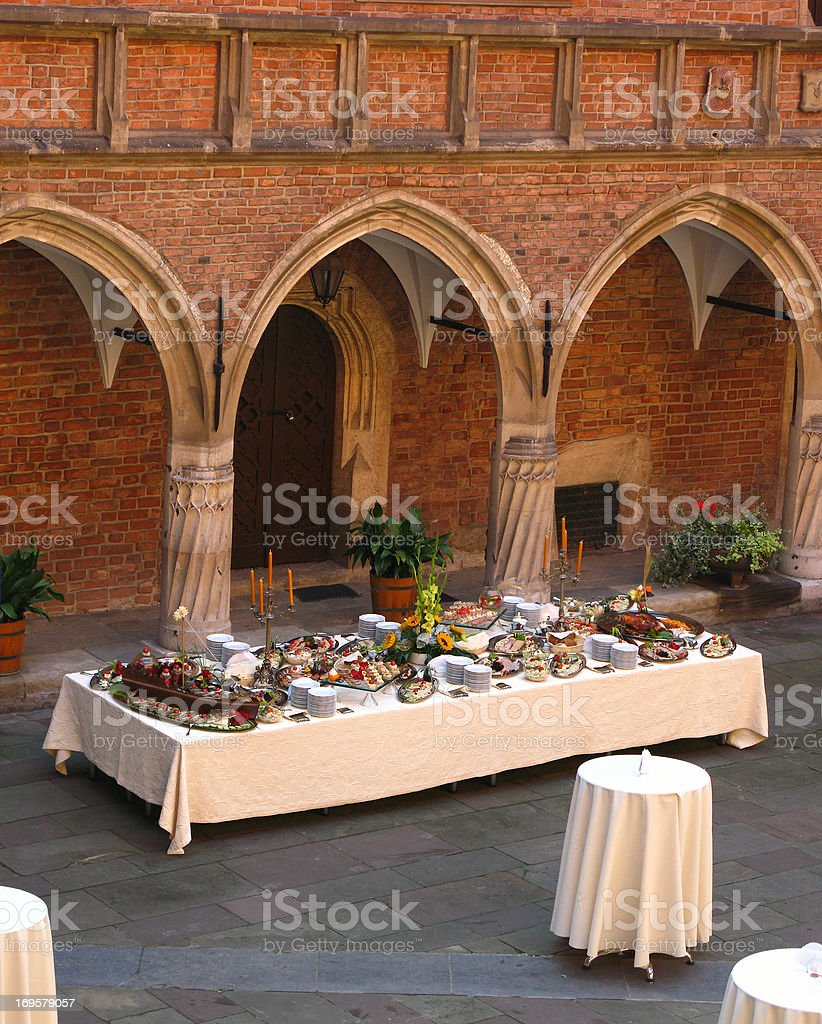 A photo of a formal dinner hall stock photo