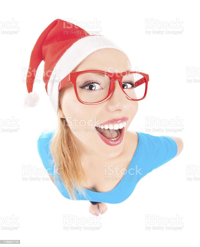 Photo of a funny Santa girl royalty-free stock photo