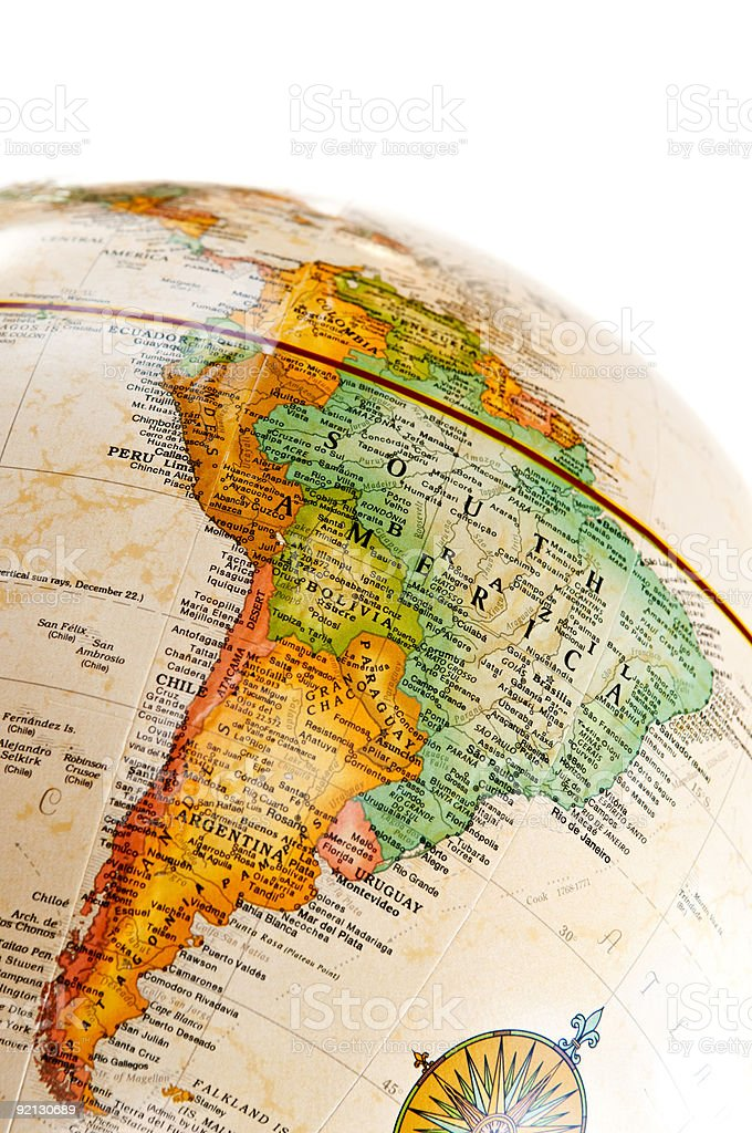 A photo of a globe with South America as the main focus stock photo