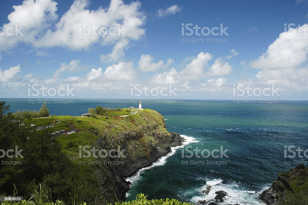 Photo of a Kilauea lighthouse and Pacific Ocean stock photo