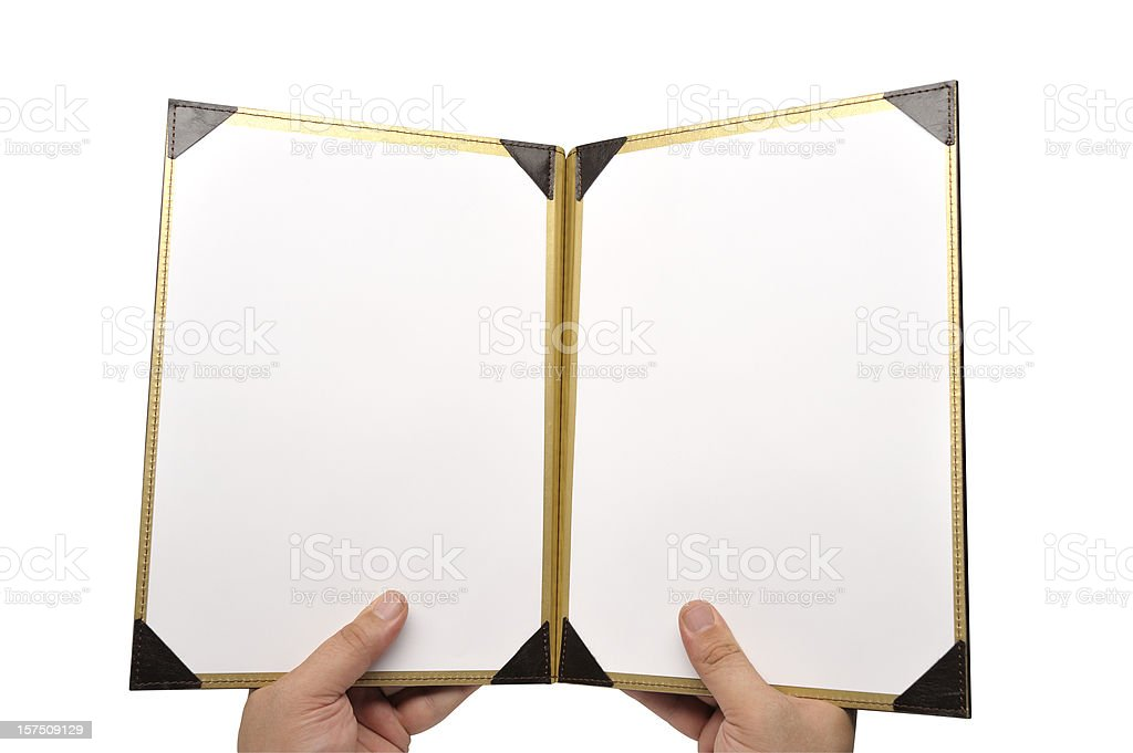 A photo of a menu opened to a empty pages stock photo