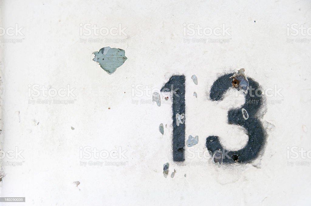 Photo of a Peeling Number Thirteen stock photo