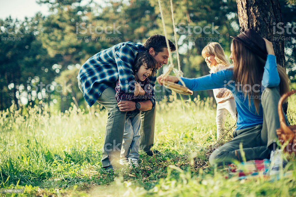 Photo of a playful family stock photo