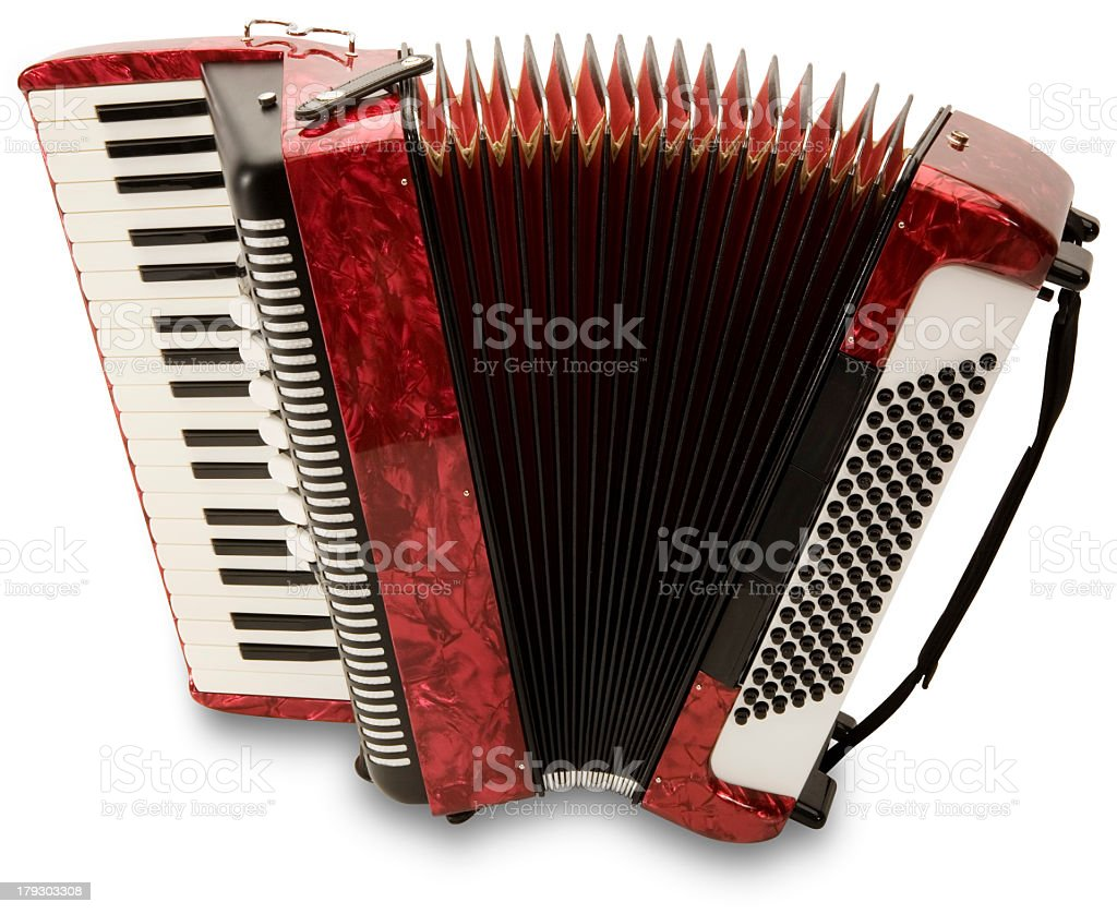 A photo of a red accordion stretched out stock photo