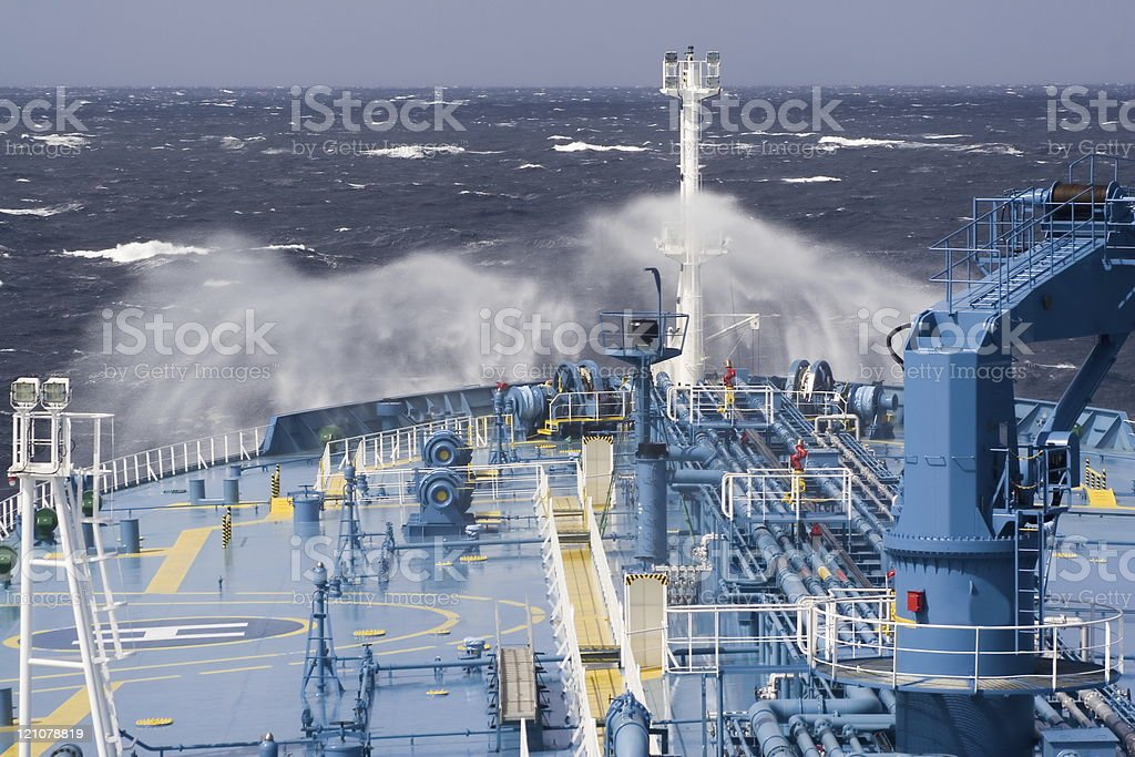 A photo of a ships bow in the ocean royalty-free stock photo