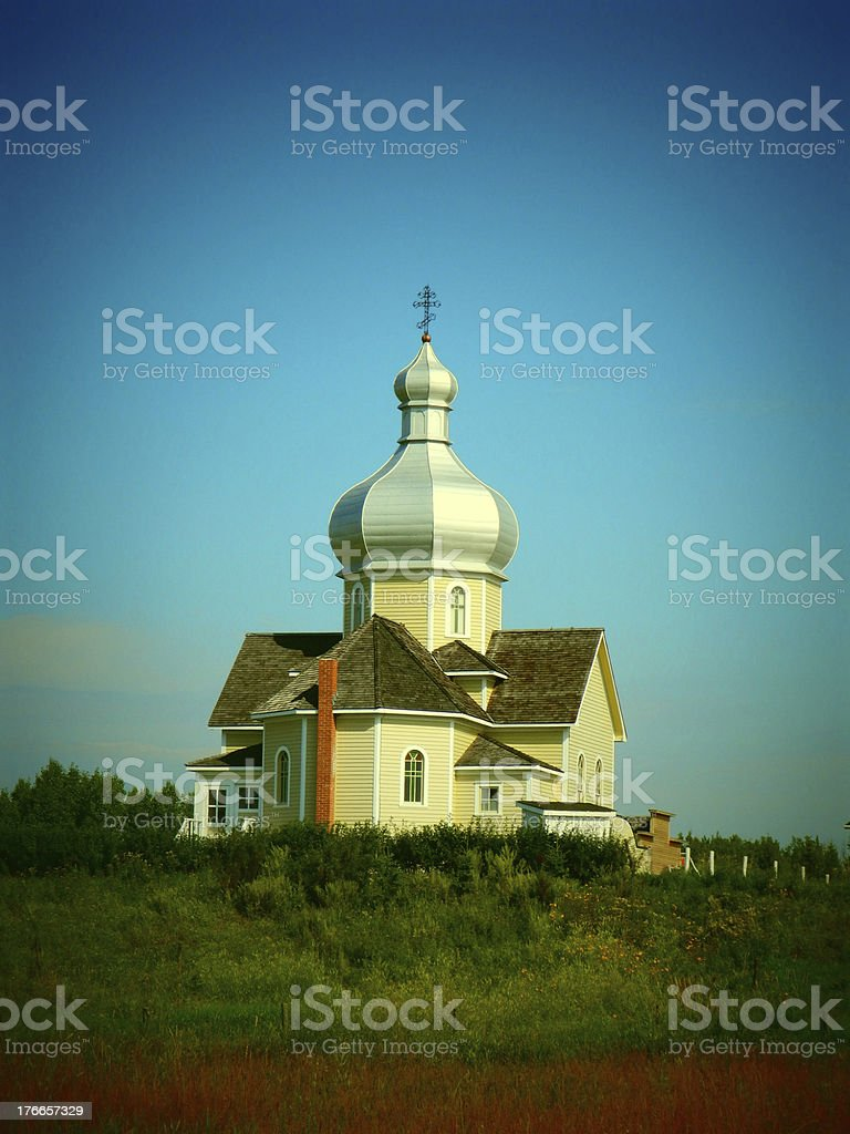 Photo of a Ukranian church with a grain filter royalty-free stock photo