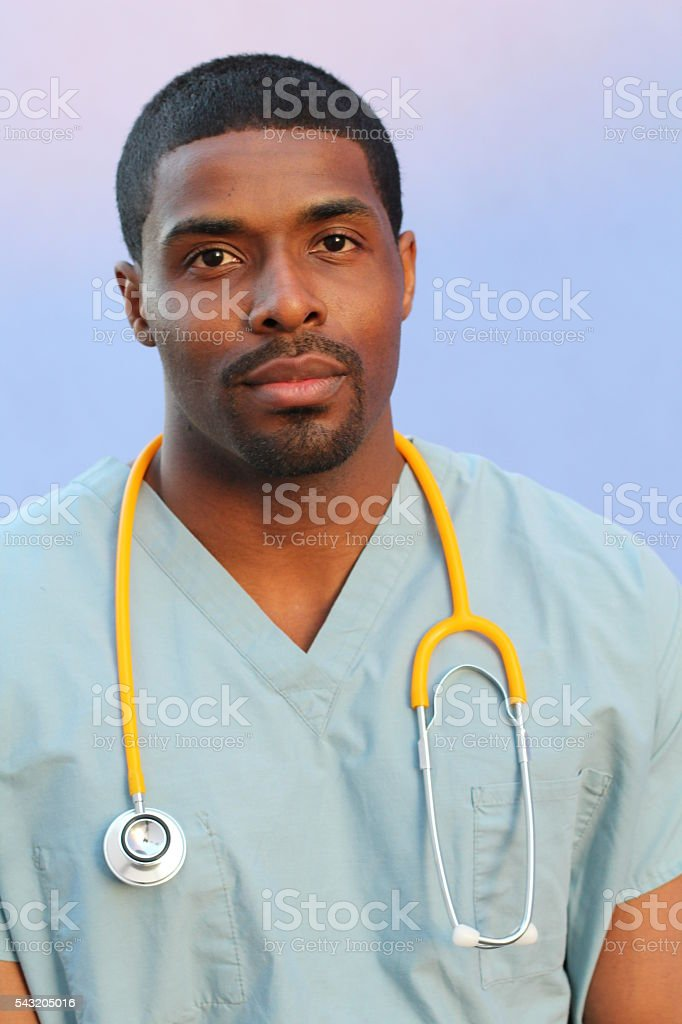 Photo of a very attractive African American male nurse stock photo