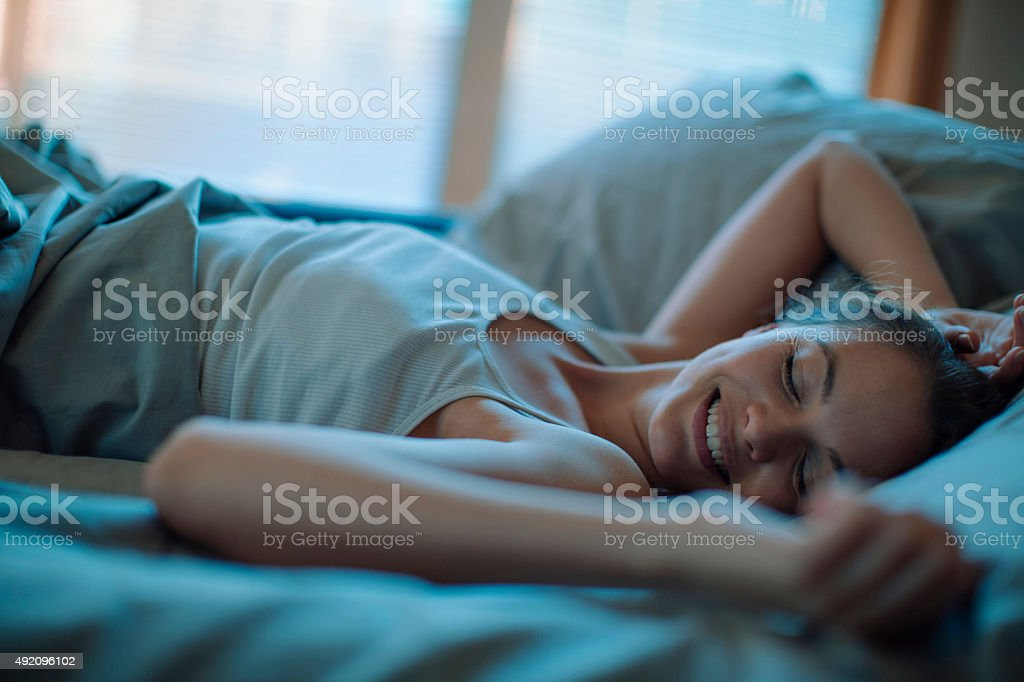 Photo of a woman sleeping stock photo