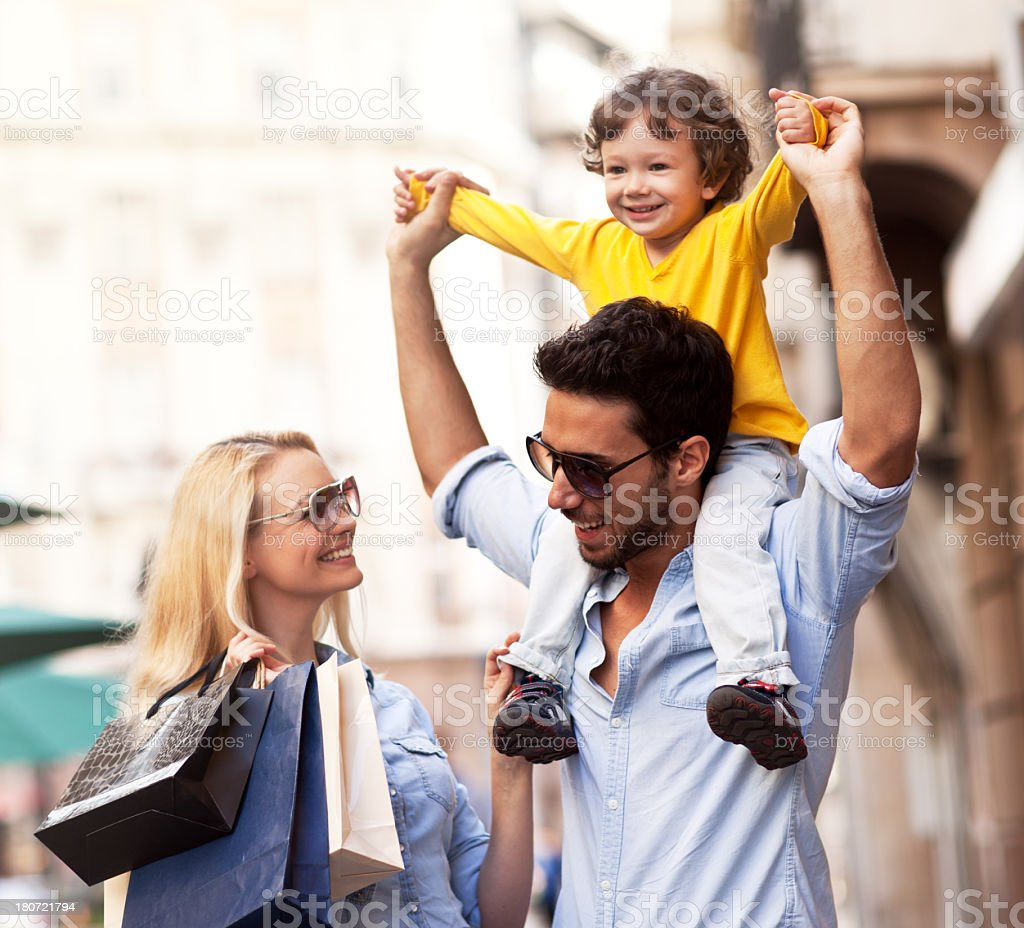Photo of a young family enjoying shopping royalty-free stock photo