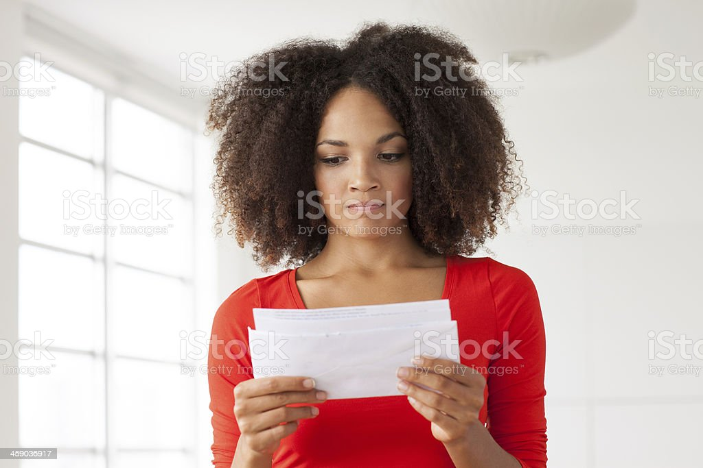 Photo of a young woman receive bad news stock photo