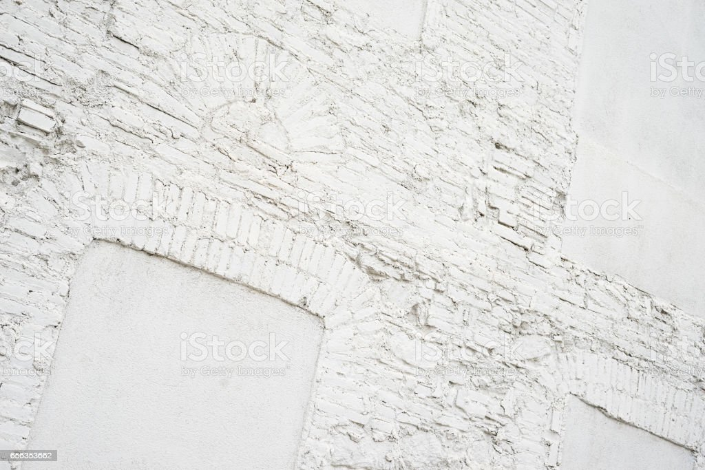 Photo of abstract vintage empty background.Old white painted brick wall texture. White washed brickwall surface.Horizontal mockup. Front side view. stock photo