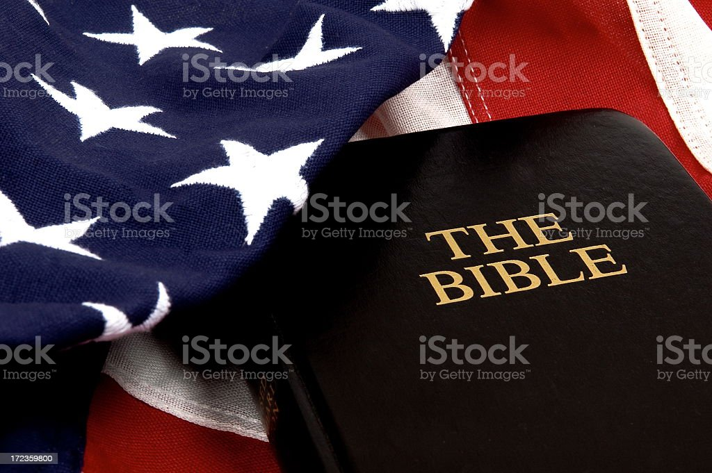 Photo of American flag with a bible stock photo