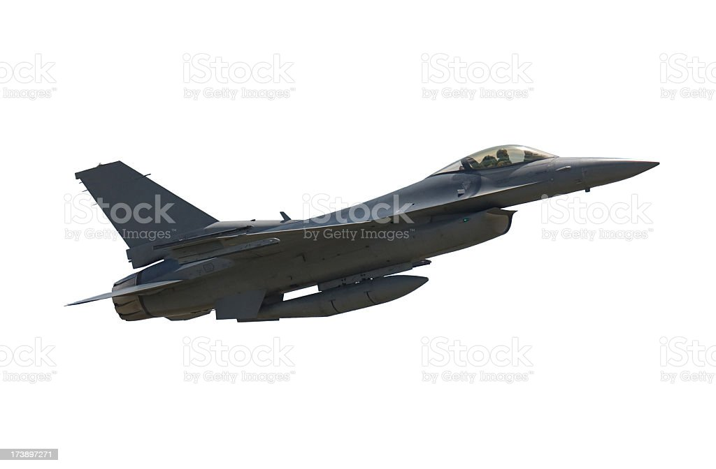 Photo of an airborne F-16 Falcon fighter jet stock photo