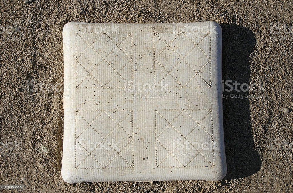 Photo of an baseball base on dirt royalty-free stock photo