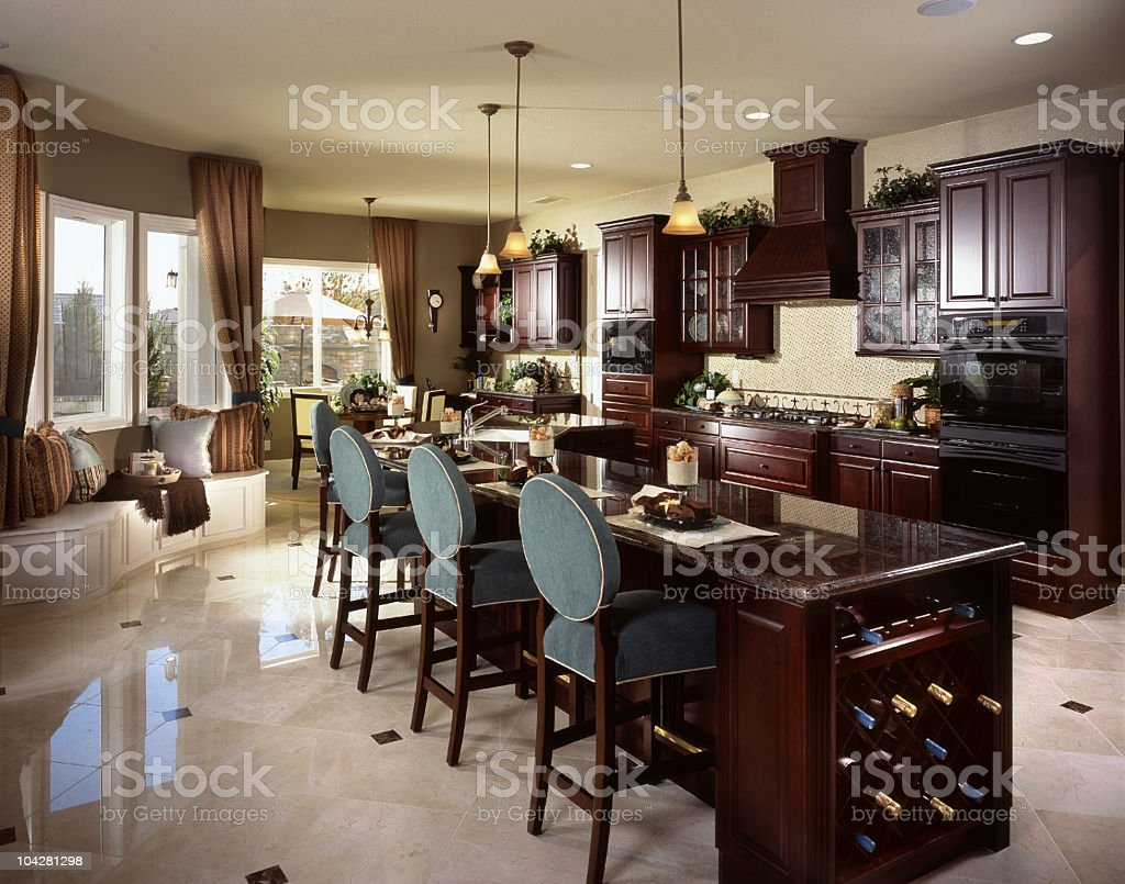 Photo of an elegantly appointed craftsman style kitchen royalty-free stock photo