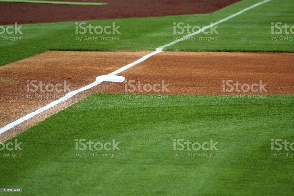 Photo of an empty baseball field's third base stock photo