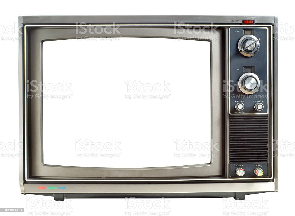 Photo of an old 1970s Television on a white background stock photo
