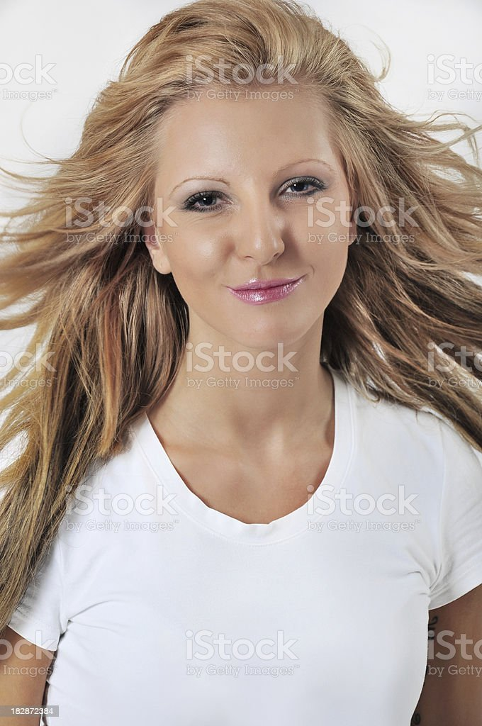 Photo of beautiful woman with blank T-Shirt royalty-free stock photo