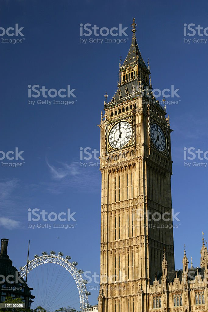 Photo of Big Ben and London Eye with a sky view background royalty-free stock photo