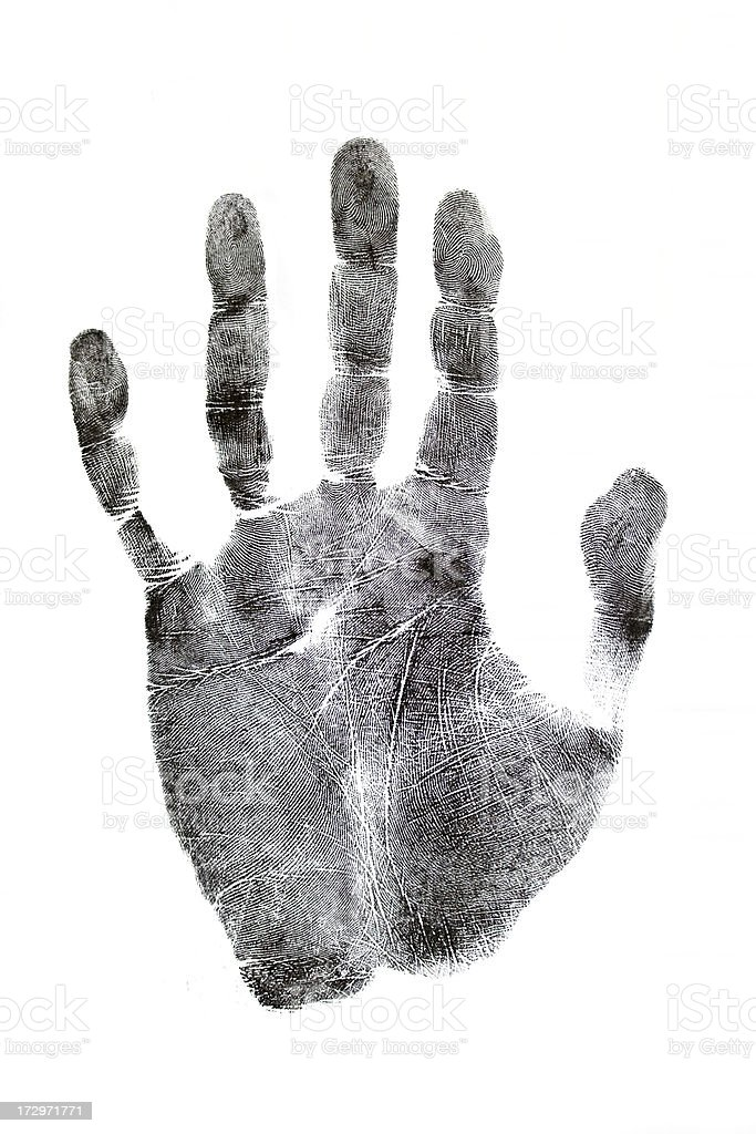 Photo of black handprint isolated on white background royalty-free stock photo