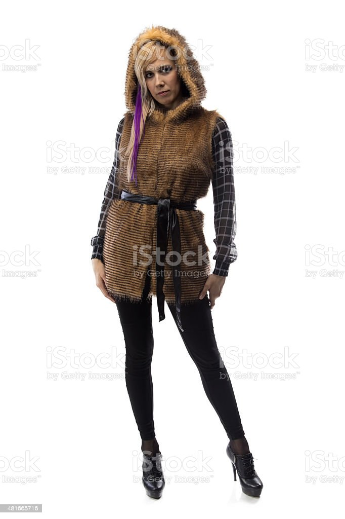 Photo of blonde in brown fur jacket stock photo