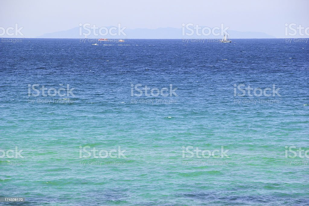 Photo of blue water background with sky royalty-free stock photo