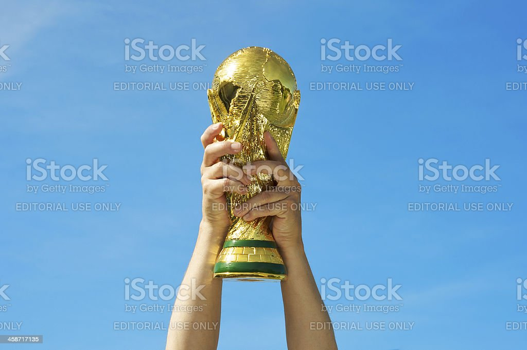 Photo of Brazil's 2014 World Cup soccer trophy stock photo