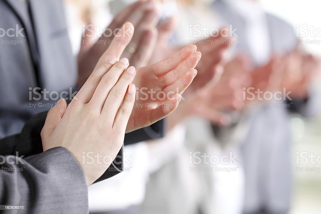 Photo of business partners hands applauding at meeting. stock photo