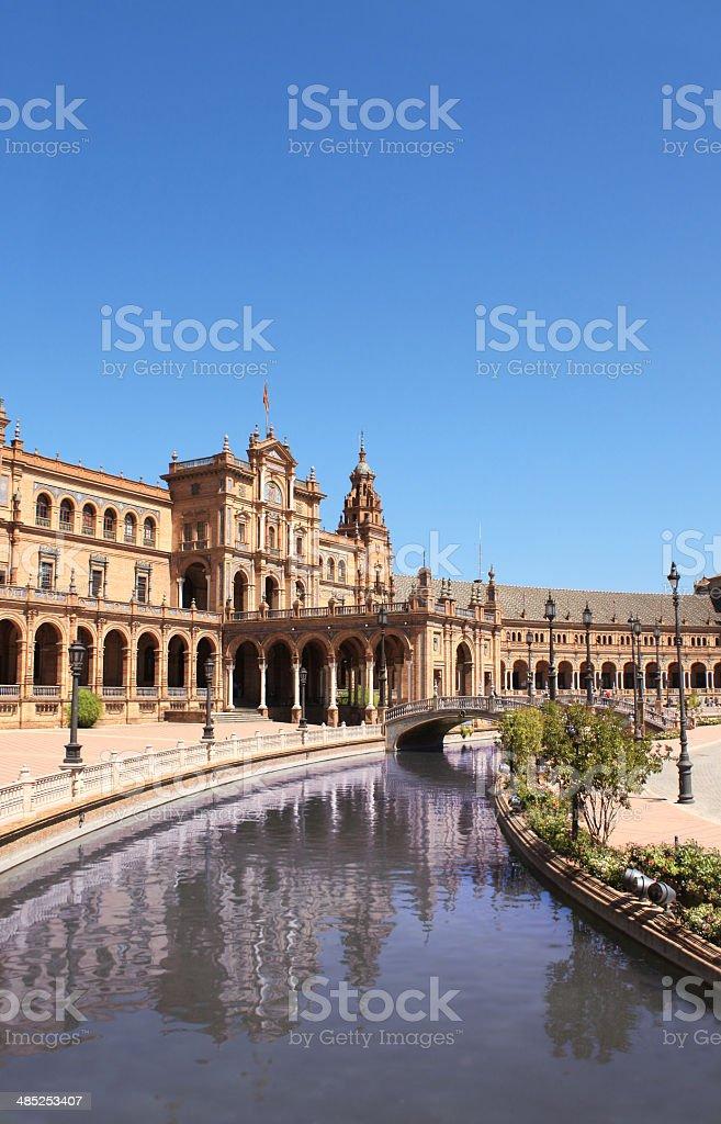 Photo of canal in Plaza de Espana, Spain royalty-free stock photo