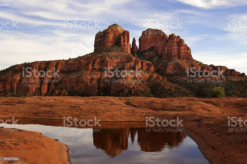 Photo of Cathedral Rock and its reflection in the water stock photo