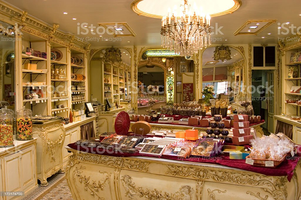 Photo of chocolate shop interior taken from entrance stock photo