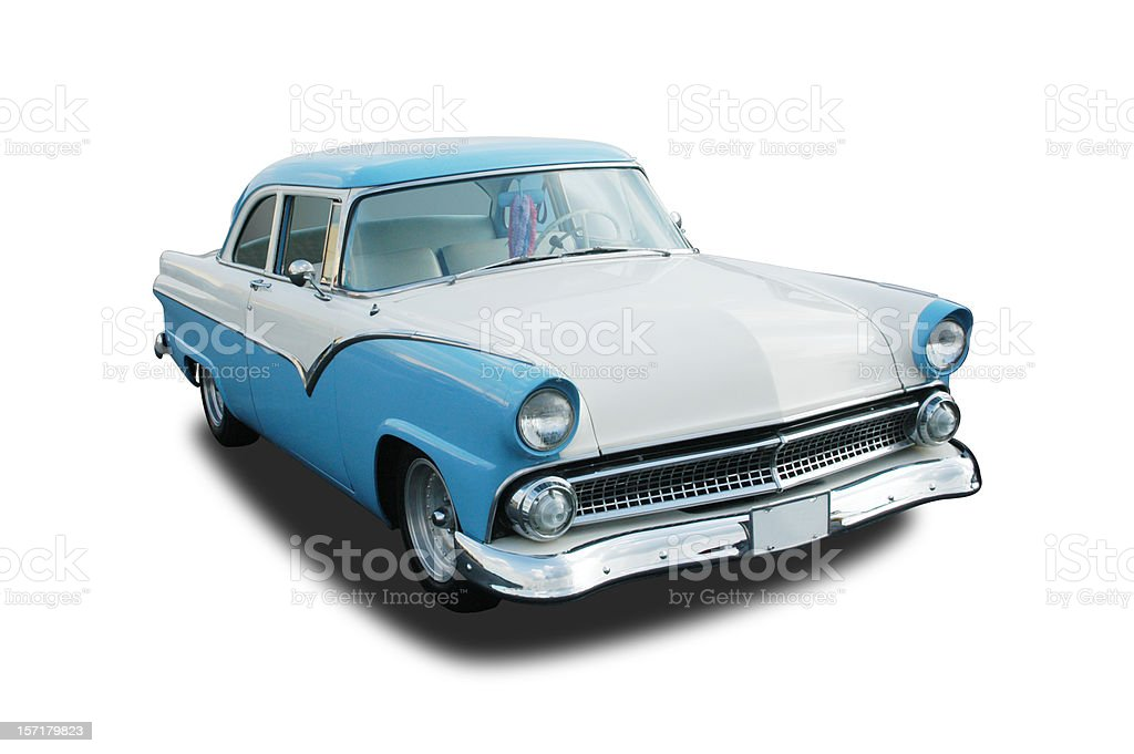 Photo of classic car, blue 1955 Ford Fairlane stock photo