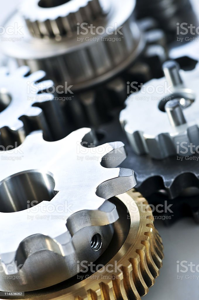 A photo of cog gears interacting royalty-free stock photo