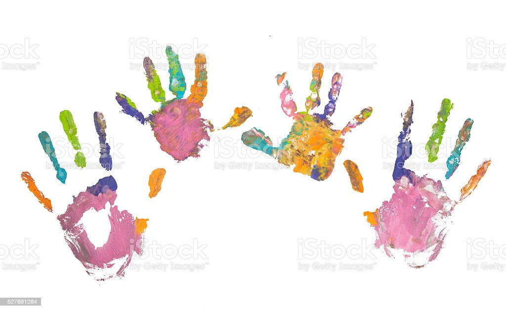 Photo of colored hand prints stock photo