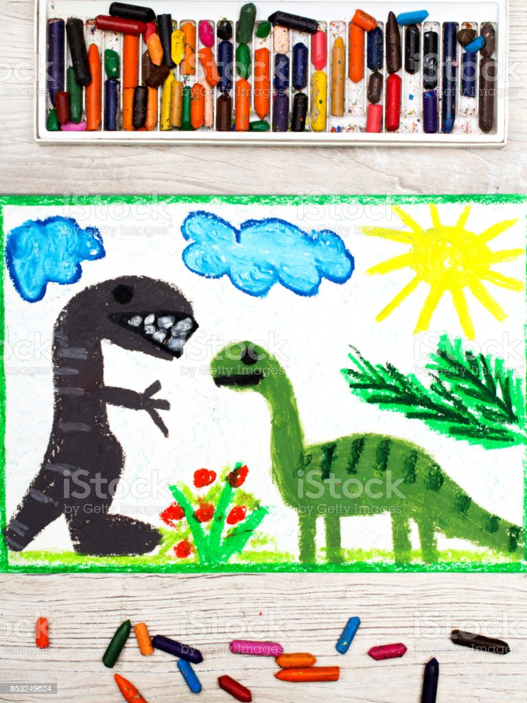 Photo of colorful drawing: Smiling dinosaurs. Big diplodocus and tyrannosaurus rex stock photo