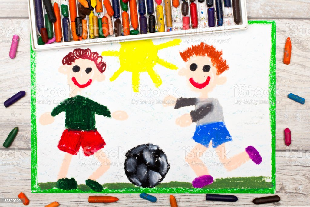 Photo of colorful drawing :Two little boys play football. Soccer game stock photo