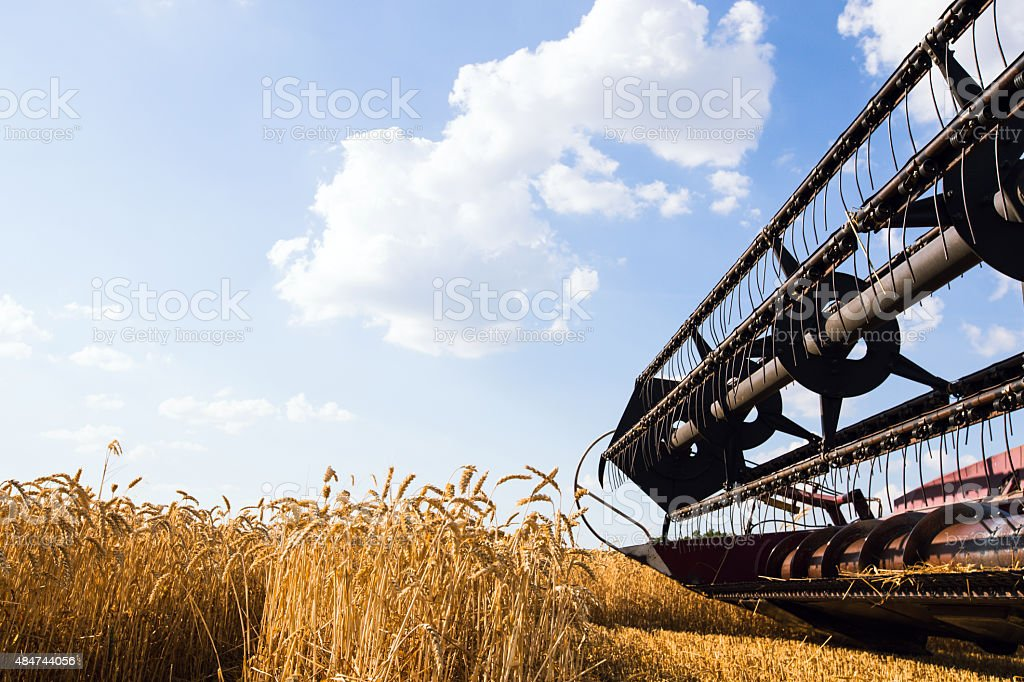 Photo of combine harvester that is harvesting wheat stock photo