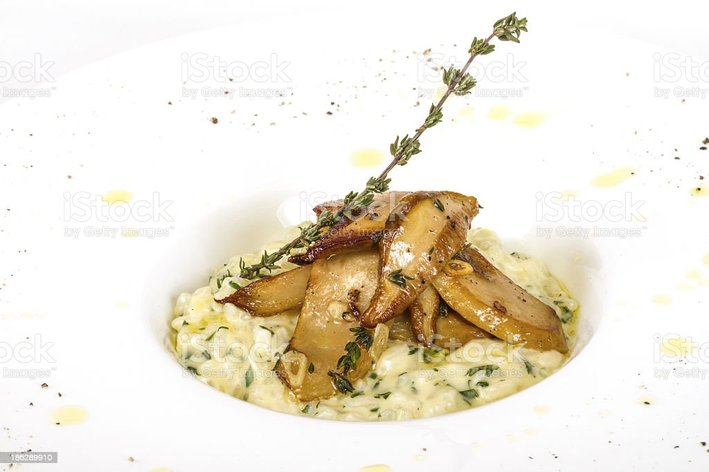 photo of delicious risotto dish with herbs royalty-free stock photo