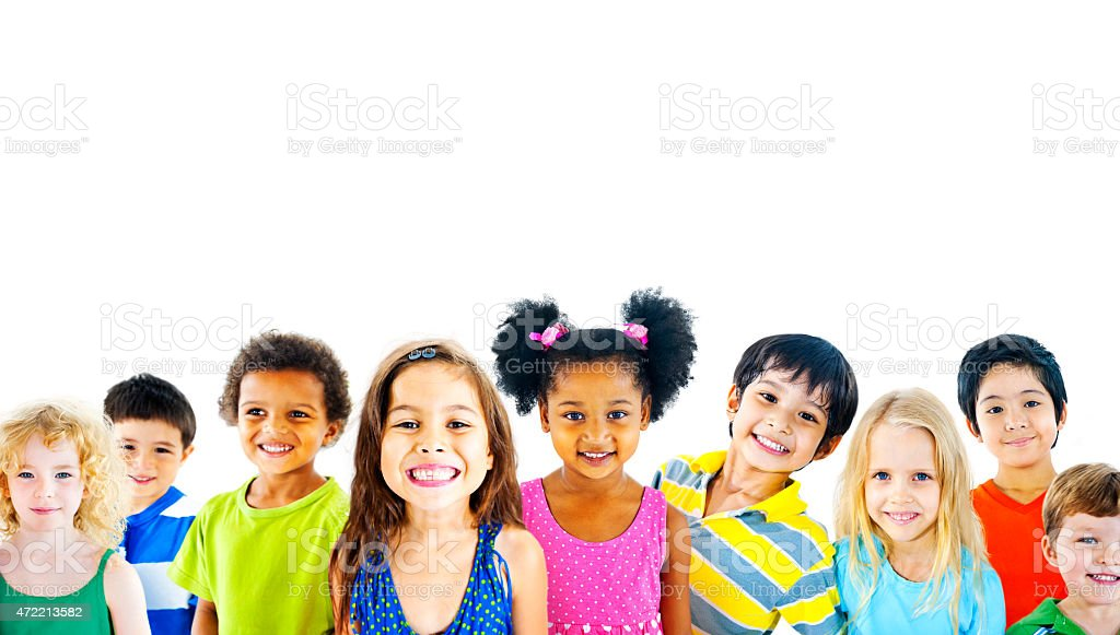 Photo of diverse children promoting concept of friendship stock photo