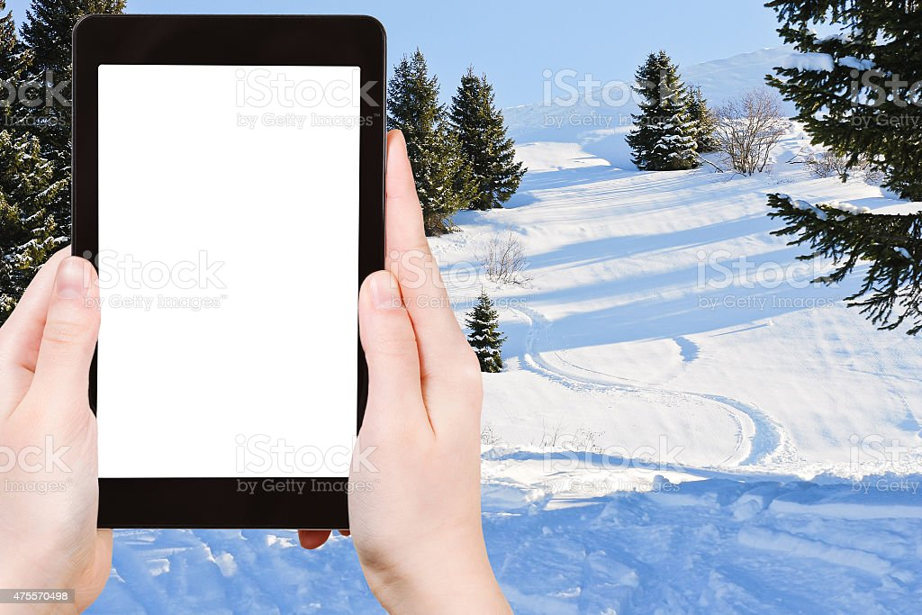 photo of downhill skiing tracks in snow forest stock photo