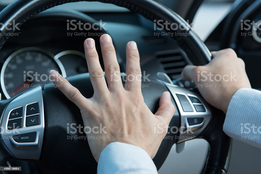 Photo of driver honking in traffic stock photo