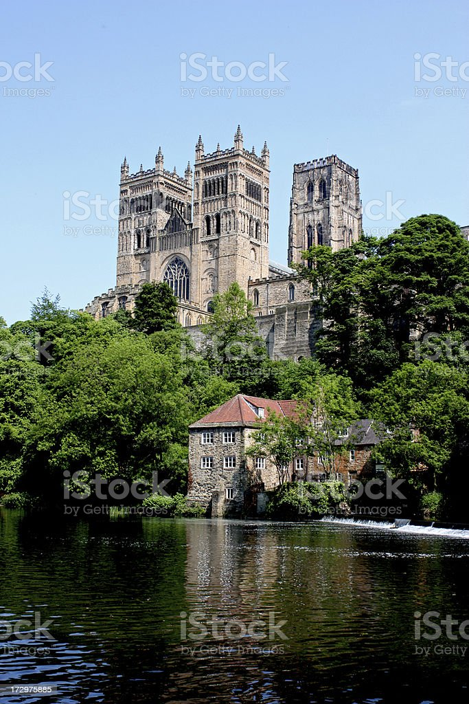 Photo of Durham Cathedral taken from across the river stock photo