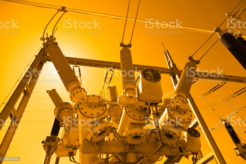Photo of electricity station taken with orange filter stock photo