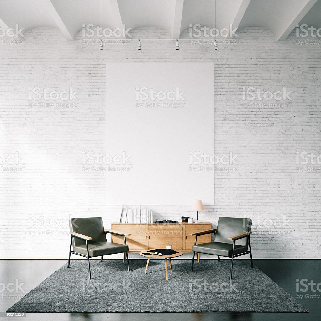 Photo of empty canvas on the white bricks wall background stock photo