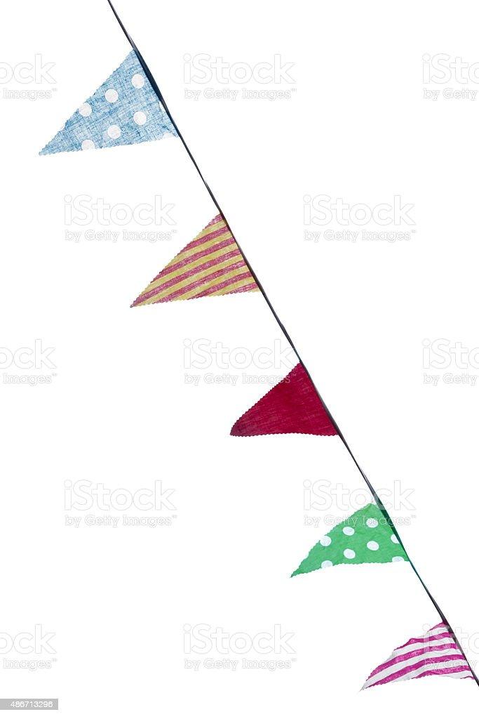 Photo of festive bunting, flags, isolated on white background. stock photo