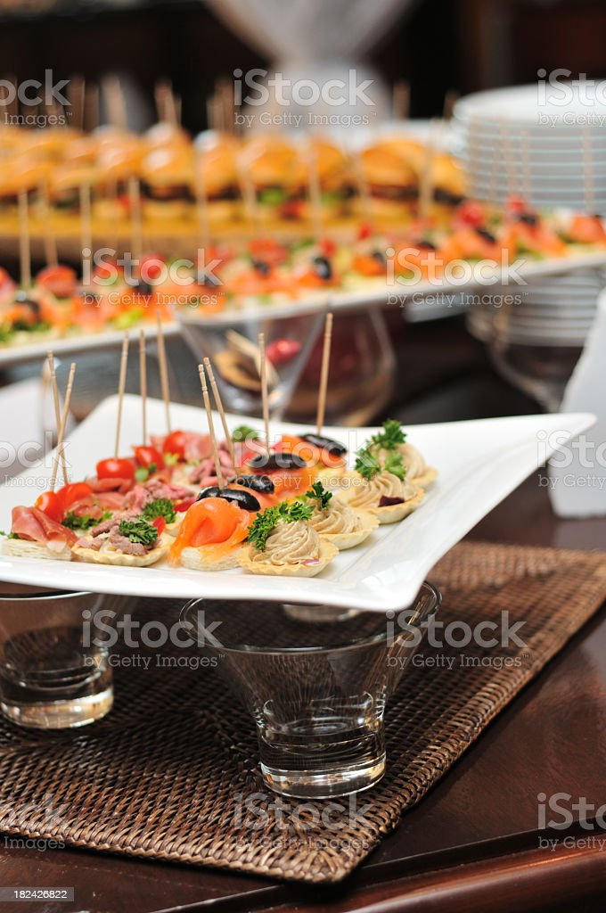 Photo of finger foods out on plates for catering royalty-free stock photo