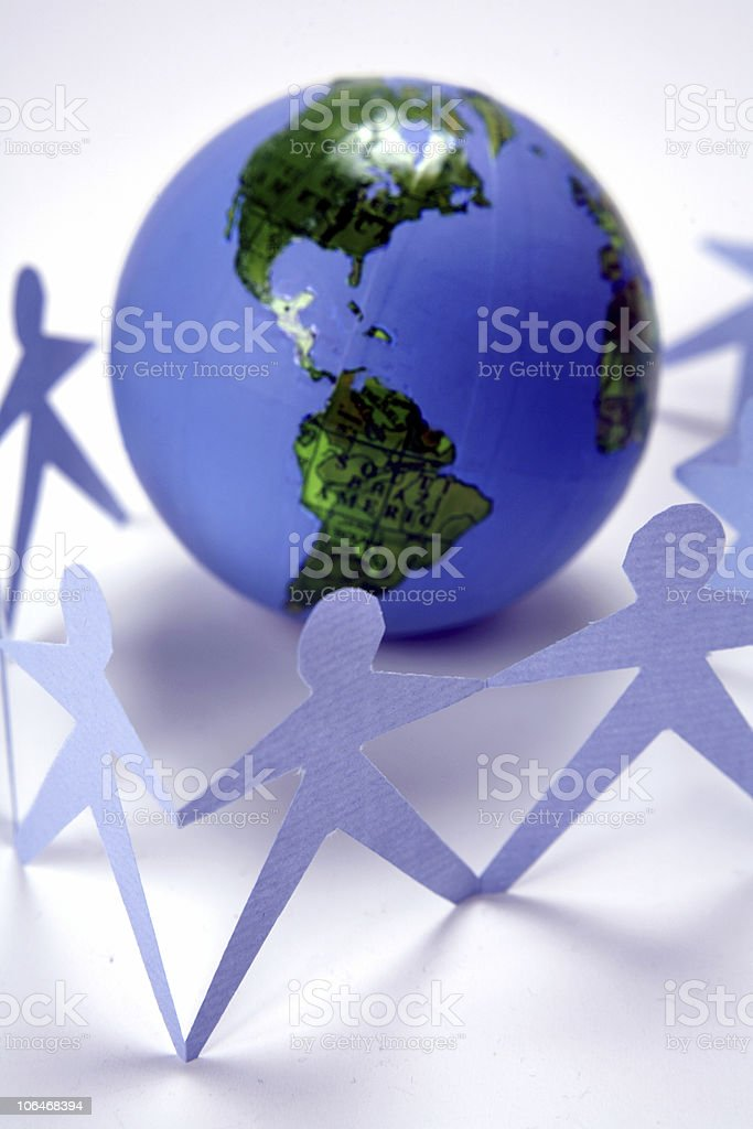 Photo of globe with team visuals royalty-free stock photo