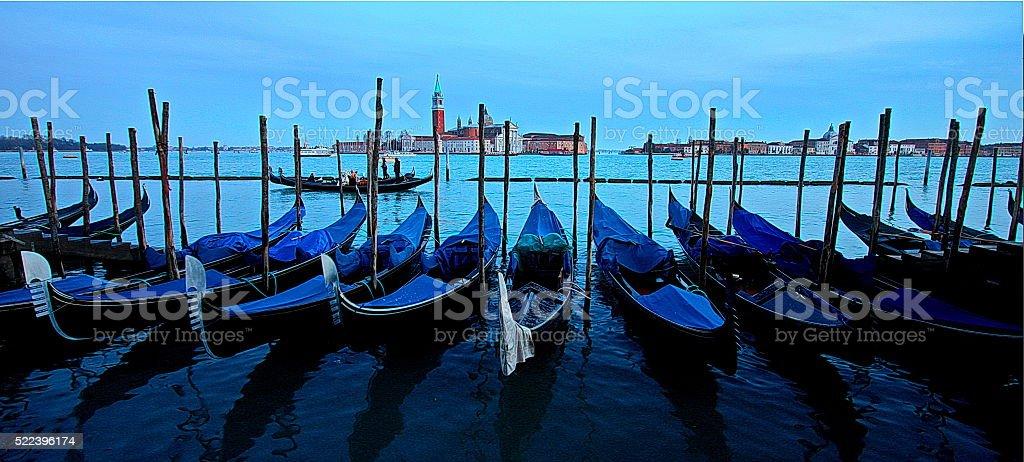 Photo of gondolas near Piazza San Marco, Venice, Italy stock photo