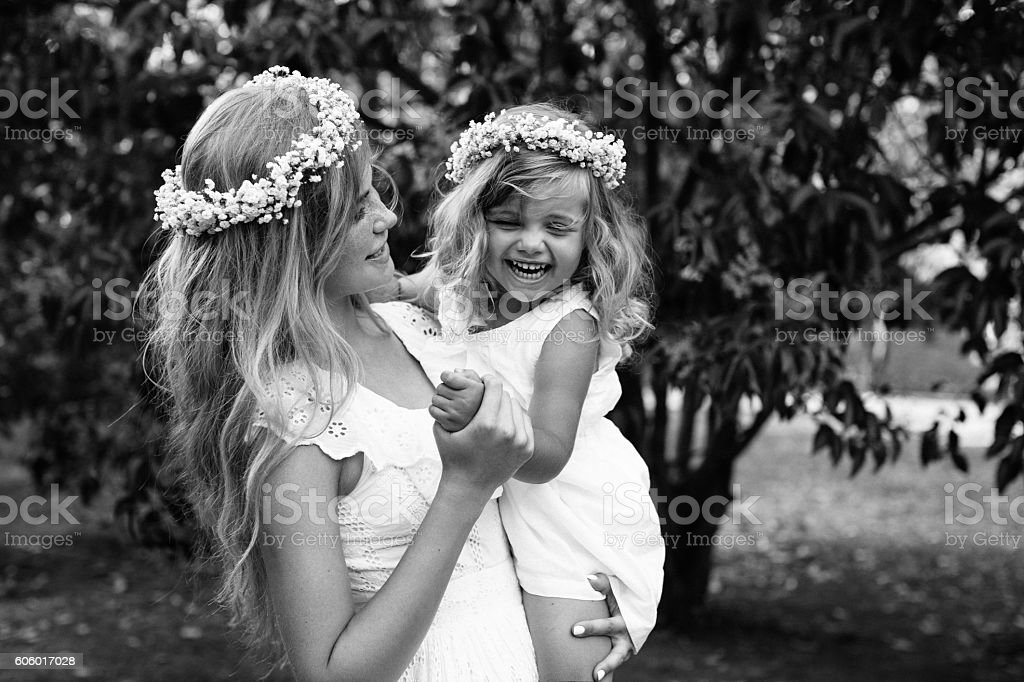 Photo of happy mother and her little daughter stock photo